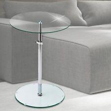 Klar Glas Beistell Tisch Platte rund Dielen Ablage Fläche höhenverstellbar Chrom