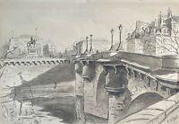 PONT DE PARIS. AQUARELLE SUR PAPIER. SIGNÉ A. GUERIN. VERS 1940.