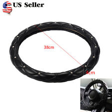 PU Leather Diamonds Steering Wheel Cover For Auto Car Truck 38cm M Size Black US