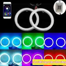 2x RGB 60MM COB LED Angel Eye Lights Halo Rings Phone APP Control Headlight DRL
