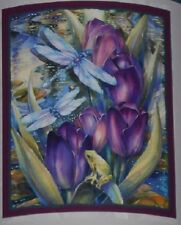 New Dragonfly Fleece Throw Gift Blanket Frog Dragonflies Marsh Pond Purple Lotus
