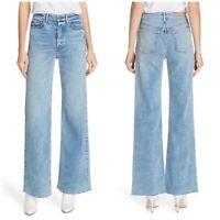 NWT GRLFRND $248 Carla Wide Leg High Rise Raw Hem Button Fly Jeans Size 30