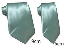 Mint green Plain Satin Tie Skinny Classic Wedding Business Prom UK