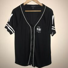 Forever 21 Plus New York 1991 Baseball Shirt Size 1X Black White Women Button Up