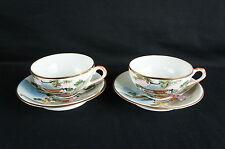 Antique Geysha Hand painted Tea Cup & Saucer 2 Sets see thru [Y8-W7-A9]