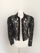 Vintage Cut Out Lace Sequin 80s Jacket Evening Occassion Size M Christmas