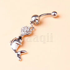 Dolphin Playing Ball Clear Gems Dangle Steel Ball Belly Button Navel Ring  MA