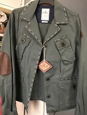 Ladies Replay Studded Ripped Retro Jacket green small