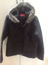 Ladies SIMON  Black quilted Jacker Coat Fur Trim M