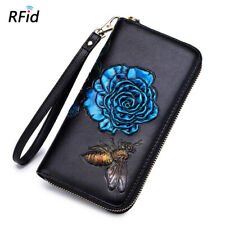1X Blue Women Real Leather Long Wallet Retro Floral Print Card Holder Cash Purse