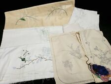 Vintage LOT Stamped for Hand Embroidery Tablecloth Runner Towels Pillowcases +