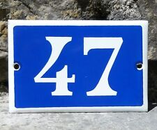 N° 47. French Antique House Number. Enamel Plate. Blue & Withe.