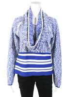 Yigal Azrouel Womens Paisley Print Crew Neck Sweater Blue White Wool Size Large