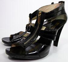 Michael Kors Stiletto Black Leather Silver Zip Up High Heels Size 9 M