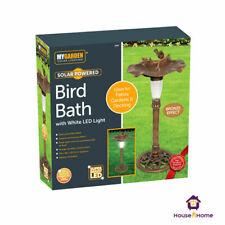 Bird Bath Feeder Traditional Pedestal Free Standing Garden Outdoor Solar Light
