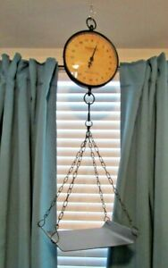 "General Store Style Decorative Hanging Produce Scale 8"" diameter. 10"" x 12"" Tray"