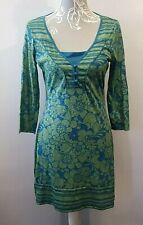 Next Dress UK 10 Green & Blue Floral Light Jersey Cotton 3/4 Sleeve Knee Length
