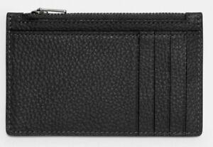 COACH Men's Designer Refined Quality Pebble Leather Zip Card Case Wallet Blk NWT