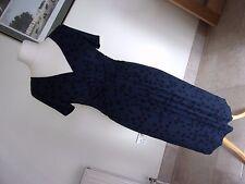 Smart Azul Marino Y Negro Manchado Cuello en V Manga Corta Vestido Elástico Talla 10 - 12