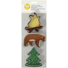 New listing Wilton Painted Metal Cookie Cutter Set Camping Camp Fire Bear Pine Tree
