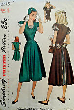 Vtg 40s Pretty Day or Evening Party Dress Pattern Simplicity 225 Size 12 Bust 30