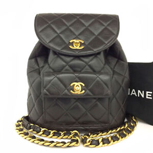 CHANEL Quilted Matelasse CC Logo Lambskin Backpack Black /90182