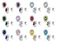 Popular Oval Birthstone Halo Fashion CZ Genuine Sterling Silver Stud Earrings