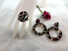 Jewelry Set Women Animal Print Dangle Hoop Earrings Adjustable Exaggerated Ring