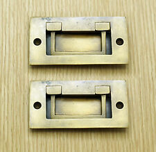 "3.46"" 2 pcs Vintage Retro Flush Lift Handle Solid Brass Door Drawer Handle Pulls"