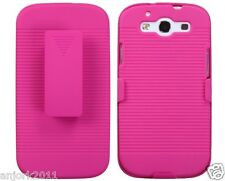 Samsung Galaxy S3 III Hard Case + Holster Combo w/ Swivel Stand Hot Pink