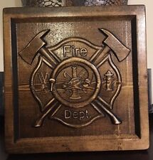 Wood Carved Fire Department Logo Plaque - Fireman's Gift, Fire Dept.