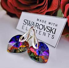 EARRINGS MADE WITH SWAROVSKI ELEMENTS HEART VOLCANO AB 14mm STERLING SILVER 925