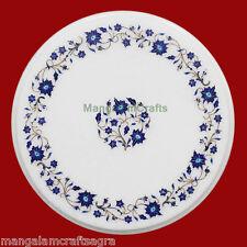 "12"" Side Table Top Semi Precious Gemstones Marble  Marquetry Inlay home decor"