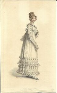 LA BELLE ASSEMBLEE    Regency Fashion Plate   PARISIAN EVENING COSTUME  NOV 1816