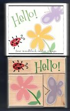 BUTTERFLY FANCY NOTES Entomology NEW 2003 Hero Arts LL819 SET wood Rubber Stamp