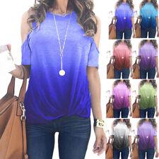 Women Summer Short Sleeve Cold Shoulder T Shirt Gradient Print Blouse Casual Top