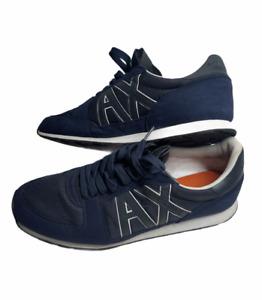 Armani Exchange Retro Logo Men's Sneaker Shoes Navy Blue White Size US 10