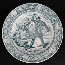 "WEDGWOOD IVANHOE RIMMED SOUP BOWL 9"" BLUE/GRAY Black Knight & Friar Tuck c.1883"