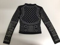 Unbranded Womens Crop Top Size S Uk 6 Rhinestones Embelished Long Sleeve