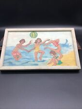 VINTAGE  Fun  Crude 1960's BEACH SCENE OIL PAINTING Out Of Ocean City Maryland