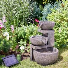 Solar water feature - contemporary bowl cascade no mains electric required