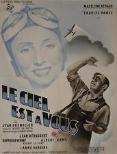 """""""LE CIEL EST A VOUS""""Affiche originale entoilée (Madeleine RENAUD, Charles VANEL)"""