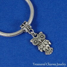 Silver OWL Dangle Bead CHARM Hooter Bird PENDANT fits EUROPEAN Bracelet *NEW*