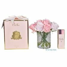 Scented Artificial Mixed Pink Rose Buds Bouquet by Cote Noire in Clear Herringbo