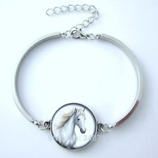 Vintage Image Horse Head Glass Dome Horse Bracelet Rhodium Plated Great Gift!