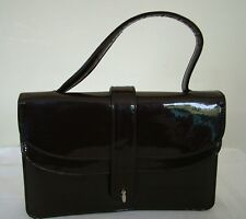 Vintage 60s dark brown patent structured top handle handbag bag