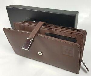 Designer Ladies Genuine Leather Wallet Purse Clutch RFID Strap Boxed Brown HideZ