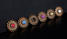 6X 29*29MM 6 COLORS TURQUOISE FLOWER BLING COPPER SADDLES CONCHOS SCREW BACK