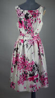 Jessica Howard White Pink Floral Fit & Flare Swing Sleeveless Dress Belt UK 18
