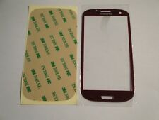 NEW RED Front Screen Glass lens for SamSung Galaxy SIII S3+ Adhesive